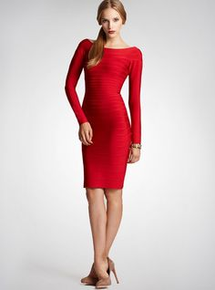 Bqueen Bandage Dress Long Sleeve Red H035