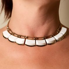 Vintage Monet White Lucite and Gold Tone Choker Necklace