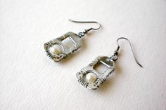 Up-Cycled Earrings from Soda Pop Tabs, Wire Wrapped with Pearl Beads, $5.00. #recycled