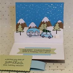 """Holiday Card (Sep 2016): #LawnFawn: """"Stitched Mountain Border"""", """"Stitched Hillside Pop-Up"""", """"Home for the Holidays"""", """"Happy Trails"""", and """"Merry Messages""""."""