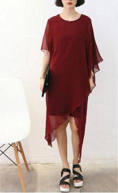 La Chic Parisienne Collection dark red wine color irregular cut chiffon dress on Etsy, $65.00