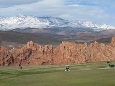 Golf at Sky Mountain with snow covered Pine Valley Mountain in the background. 15 minutes drive from St George UT St George Utah, Pine Valley, Sky Mountain, Golf Courses, Things To Do, Mountains, Places, Pictures, Erika