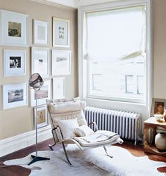 "neutral paint colors: ""veil cream"" with ""snowfall white"" trim by benjamin moore + corbusier chaise"