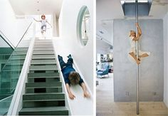 This house is also a playground with a built-in slide and a firepole!