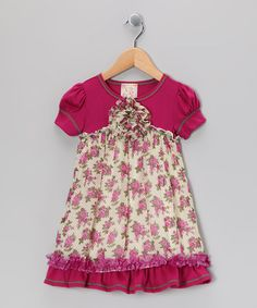 Take a look at this Ivory & Fuchsia Babydoll Dress - Toddler & Girls by Pink Vanilla on #zulily today!