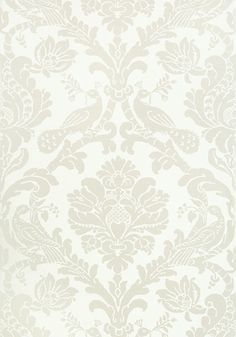PASSARO DAMASK, Pearl on White, T89134, Collection Damask Resource 4 from Thibaut