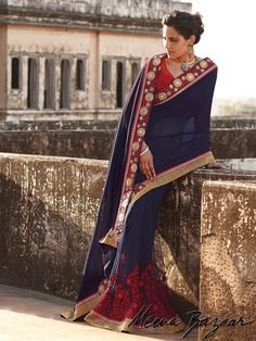 Products :: Sarees :: Voilet Saree with Georgette Pallu- Net Pleats
