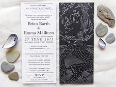 Star Map Wedding Invitations: http://ohsobeautifulpaper.com/2015/04/emma-brians-star-map-wedding-invitations/   Design + Envelope Calligraphy + Photo: Emma Mällinen   Printing: Mama's Sauce