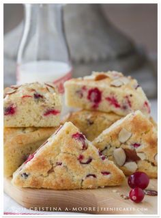 Meyer Lemon and Cranberry Scones - I've never seen a scone pan before. I love scones! Köstliche Desserts, Delicious Desserts, Dessert Recipes, Yummy Food, Scone Recipes, Quiche Recipes, Plated Desserts, Cranberry Scones, Breakfast Desayunos