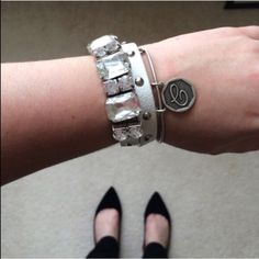 T&J Designs white faux leather wrap bracelet Great stud detail! Would look great with a watch or all on its own. NWT retail. T&J Designs Jewelry Bracelets