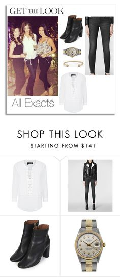 """""""Eleanor Calder in LA"""" by manakda ❤ liked on Polyvore featuring The Kooples, AllSaints, Topshop, Rolex, Melinda Maria, women's clothing, women, female, woman and misses"""