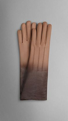 Burberry - Miel sombre Longs gants en cuir à effet dégradé