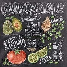 """Chalkboard Art - """"Guacamole Handlettering"""" wall art by Lily and Val available at Great BIG Canvas. Chalkboard Lettering, Chalkboard Designs, Chalkboard Art Kitchen, Chalkboard Printable, Chalkboard Drawings, Lily And Val, Kitchen Art, Chalk Art, Food Illustrations"""