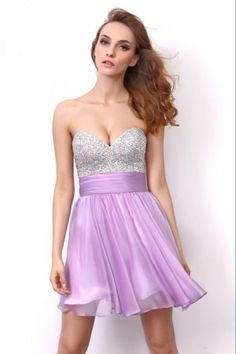 #Prom Girl #Cocktail Dress Lilac Sweetheart Classic Short Evening Prom Dress with Sequins Top from Eveningirl