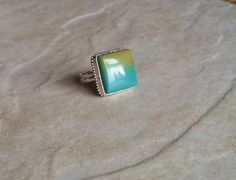Unique, Square Turquoise Ring in Sterling Silver by CatsCreationsLLC on Etsy