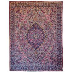 Antique Kerman Lavar Carpet