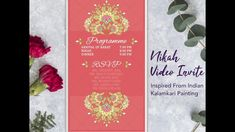 Beautiful Nikah Invitation Video In Bright Colours And Touch Of Gold. Wedding Invitation Video, Indian Wedding Invitations, E Invite, Save The Date Photos, Touch Of Gold, Bright Colours, Digital Invitations, E Cards, Traditional Wedding