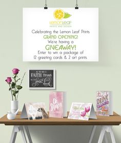 Lemon Leaf Prints Grand Opening Announcement and giveaway!  Easy to enter and win 12 greeting cards and 2 art prints!