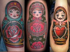 Hate the mustached one on the right, but a few matryoshka tattoo ideas. I need to rethink the positioning of my second doll, hmm.