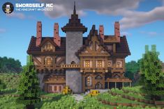 Casa Medieval Minecraft, Minecraft House Plans, Minecraft Mansion, Minecraft Cottage, Minecraft House Tutorials, Cute Minecraft Houses, Amazing Minecraft, Minecraft Tutorial, Minecraft Blueprints
