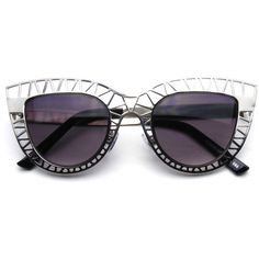 Womens Indie Cat Eye Sunglasses Trendy Fashion Metal Cut Out (16 BAM) ❤ liked on Polyvore featuring accessories, eyewear, sunglasses, cat-eye glasses, hippy glasses, cat eye sunglasses, metal glasses and hippy sunglasses