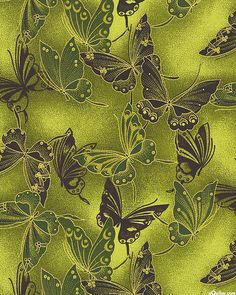 Fancy Flight - Cloisonné Butterflies - Avocado Green/Gold