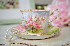 Royal Albert Crown China Teacup and Saucer BLOSSOM TIME, English Bone China Tea…