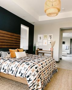 Boho Living Room, Home And Living, Southwest Bedroom, Piece A Vivre, Scandinavian Furniture, Leather Headboard, King Headboard, Home Decor Bedroom, House Design