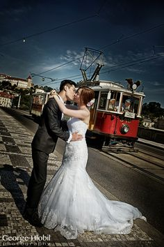 Pre-wedding photo shoot in Prague - Prague vintage tram, view more at www.praguepreweddingphoto.com