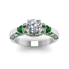 Rescinding Arch Round Cut diamond Side Stone Engagement Rings with Green Emerald in 950 Platinum exclusively styled by Fascinating Diamonds