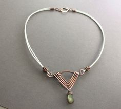Art Deco necklace in copper with faceted flashy labradorite drop stone pendant on leather