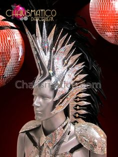Charismatico Dancewear Store - CHARISMATICO Black feathered, bi-colored glitter base and rhinestone accented Mohawk Headdress, $220.00 (http://www.charismatico-dancewear.com/charismatico-black-feathered-bi-colored-glitter-base-and-rhinestone-accented-mohawk-headdress/)