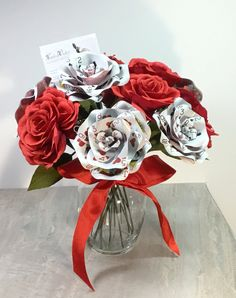 Dozen Paper Roses, 6 Crepe Paper Flowers & 6 Playing Card Flowers | Vegas | Casino Centerpiece with Vase | Optional Wedding Flower Bouquet
