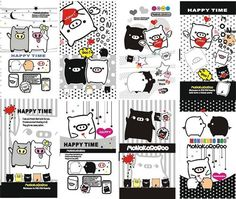 Black and white cartoon elements vector graphics
