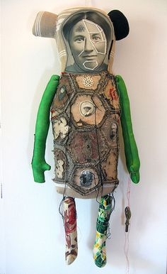 French artist Cecile Perra embroidered puppets are not quite collage and not quite sculpture.