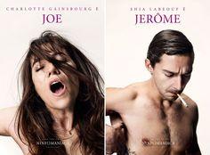 """Ninfomaníaca"": posters de Charlotte Gainsbourg e Shia LaBeouf."
