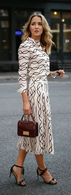 Transitional Favorites // Patterned blouse, pleated midi skirt, black  ankle strap sandals, burgundy handbag, oversized sunglasses {Tory Burch, Alexandre Birman, workwear, wear to work style, creative office style}