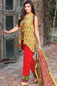 Yellow & Red Pure Lawn Cotton Unstitch Pakistani Suit