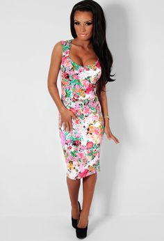 Hazen White  Neon Floral Bodycon Midi Dress | Pink Boutique