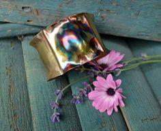 Copper Cuff Bracelet  Rainbow Reflection by crazyfoxstudio