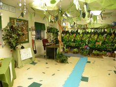 Decorating classroom for Brazil/Rainforest theme. If only we could hang stuff from the ceiling!