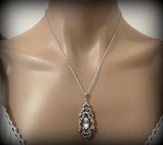 Crystal Bridal Necklace Art Deco Necklace Swarovski by YJDesign