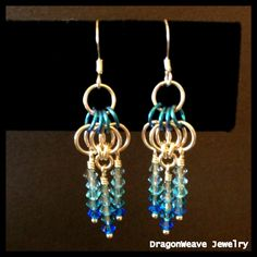 Sterling Silver and Swarovski Crystal #Chainmaille #Earrings by DragonweaveJewelry, $35.00