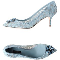 Dolce & Gabbana Pump ($649) ❤ liked on Polyvore featuring shoes, pumps, sky blue, dolce gabbana shoes, spiked heel shoes, spiked heel pumps, leather sole shoes and sky blue shoes