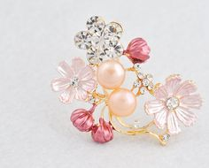 Pink Fresh Water Pearl And Alloy Brooch Inlay Rhinestones