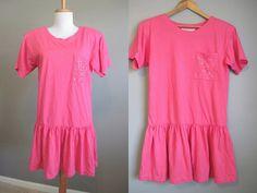 Tshirt Dress Vintage Babydoll 80s Pink Mini by InTheHammockVintage, $20.00