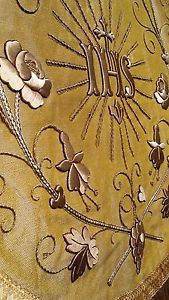 ANTIQUE-FRENCH-EMBROIDERY-RELIGIOUS-CHASUBLE-GOLD-IHS-STUMPWORK-GOLDWORK