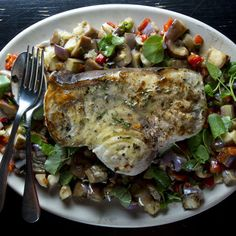 Grill master Bobby Flay fires up swordfish with eggplant and poblano salad.