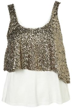 Gold Sequin Overlay Vest - Tops - Clothing - Topshop USA - StyleSays