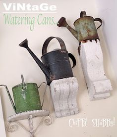 Smaller-size vintage watering cans...